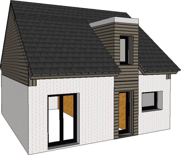 Maison de 75 m² – 3 chambres – Toit 2 pentes