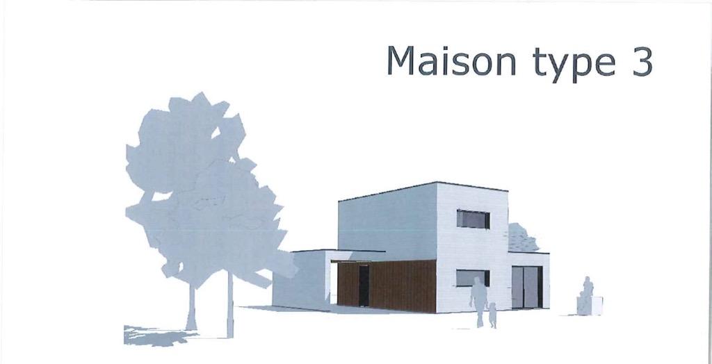 Maison type 3.2 ossature toit plat contemporain