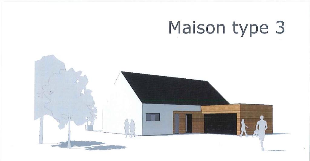 Maison type 3 en ossature toit plat + 2 pentes
