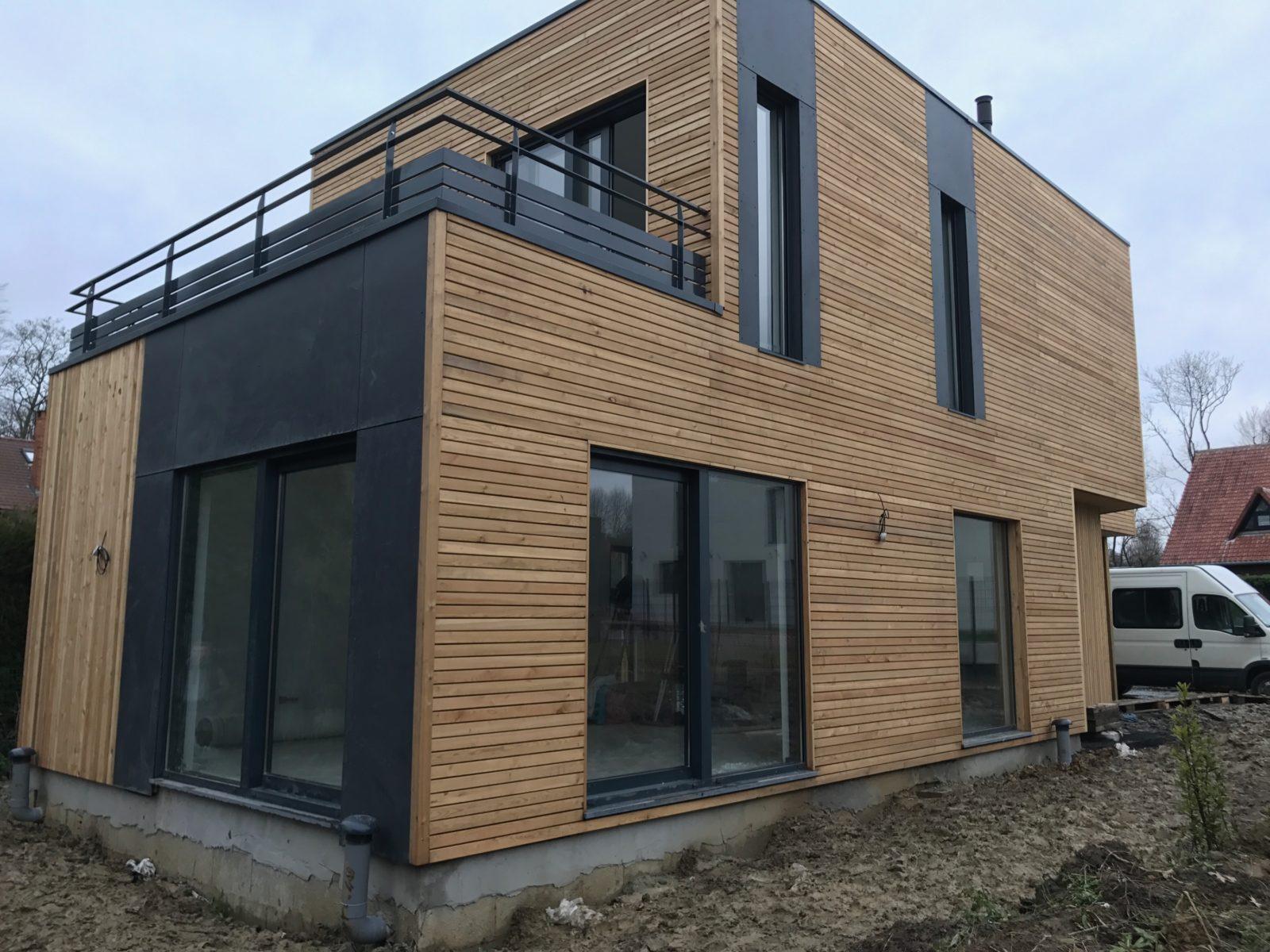 maison en ossature bois avec toit terrasse habitat destombes. Black Bedroom Furniture Sets. Home Design Ideas